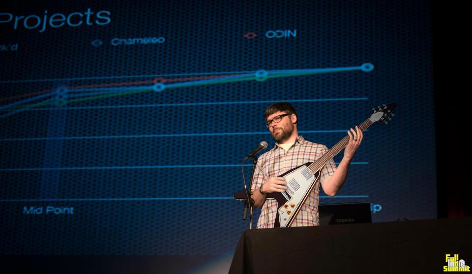 My presentation at the Full Indie Summit (Guitar Photoshopped)